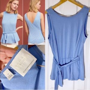 Anthropologie etta:twa Blue Tied Tank Top